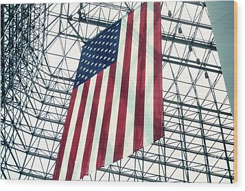American Flag In Kennedy Library Atrium - 1982 Wood Print by Thomas Marchessault