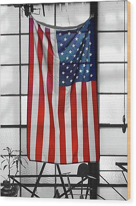 Wood Print featuring the photograph American Flag In The Window by Mike McGlothlen