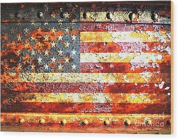 American Flag On Rusted Riveted Metal Door Wood Print