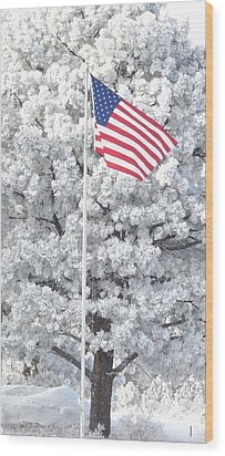 American Flag Snow  Wood Print