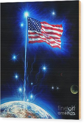 American Flag. The Star Spangled Banner Wood Print by Sofia Metal Queen