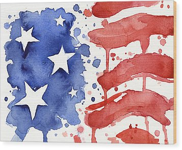 American Flag Watercolor Painting Wood Print