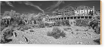 Wood Print featuring the photograph American Flat Mill Virginia City Nevada Panoramic Monochrome by Scott McGuire