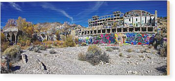 Wood Print featuring the photograph American Flat Mill Virginia City Nevada Panoramic by Scott McGuire