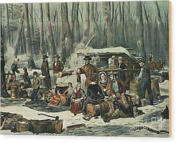 American Forest Scene Wood Print by Currier and Ives