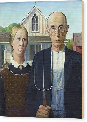 American Gothic Wood Print by Pg Reproductions