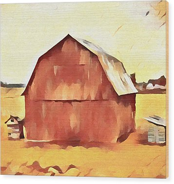 Wood Print featuring the painting American Gothic Red Barn by Dan Sproul