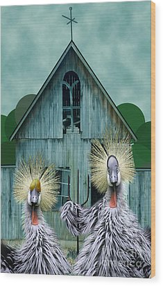 American Gothic Revisisted  Wood Print by Lois Mountz