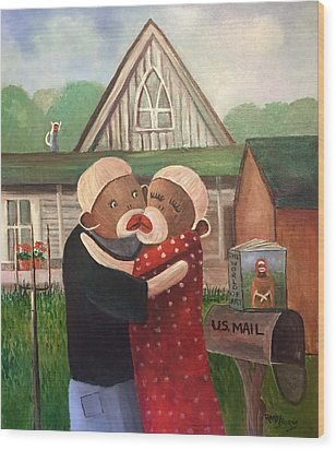 American Gothic The Monkey Lisa And The Holler Wood Print