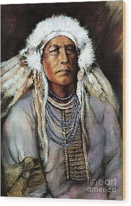 Wood Print featuring the painting American Indian Chief by Linda Olsen