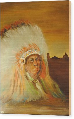 American Indian Wood Print by James Higgins