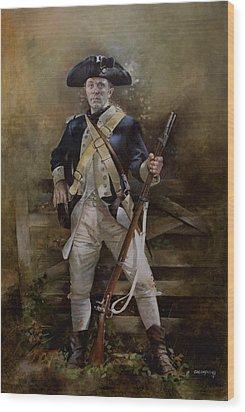 American Infantryman C.1777 Wood Print by Chris Collingwood