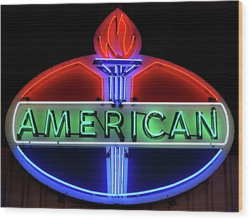 Wood Print featuring the photograph American Oil Sign by Sandy Keeton