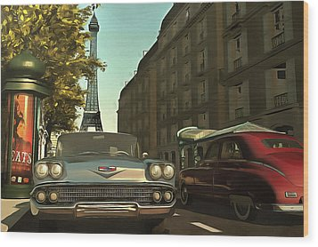 American  Oldtimers In Paris Wood Print