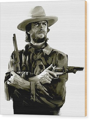 American Outlaw V Clint Eastwood Wood Print by Iconic Images Art Gallery David Pucciarelli
