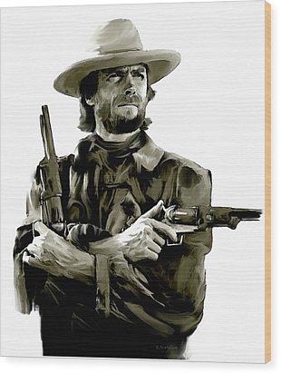 American Outlaw V Clint Eastwood Wood Print