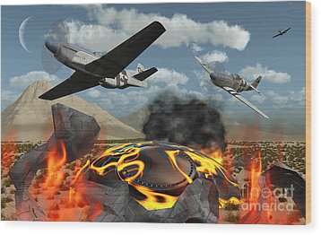 American P-51 Mustang Fighter Planes Wood Print by Mark Stevenson