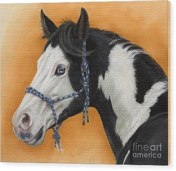 American Paint Horse - Soft Pastel Wood Print by Svetlana Ledneva-Schukina