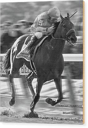 American Pharoah And Victor Espinoza Win The 2015 Belmont Stakes Wood Print by Thomas Pollart