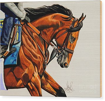 American Pharoah - Triple Crown Winner In White Wood Print