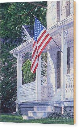American Porch Wood Print by Gloria Johnson