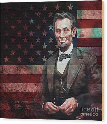American President Abraham Lincoln 01 Wood Print by Gull G