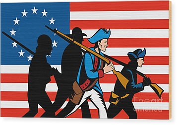 American Revolutionary Soldier Marching Wood Print by Aloysius Patrimonio