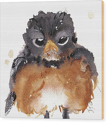 Wood Print featuring the painting American Robin by Dawn Derman
