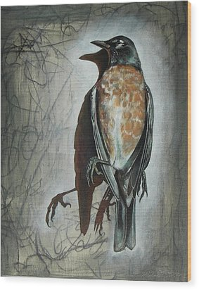 Wood Print featuring the mixed media American Robin by Sheri Howe