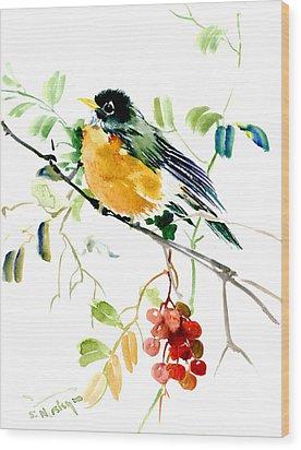 American Robin Wood Print