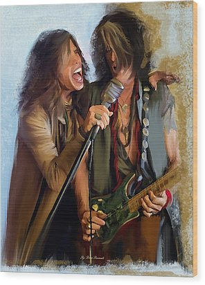 American Rock  Steven Tyler And Joe Perry Wood Print by Iconic Images Art Gallery David Pucciarelli