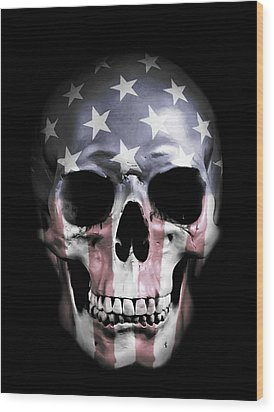 Wood Print featuring the digital art American Skull by Nicklas Gustafsson