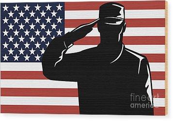 American Soldier Salute Wood Print by Aloysius Patrimonio