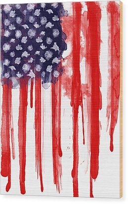 American Spatter Flag Wood Print by Nicklas Gustafsson