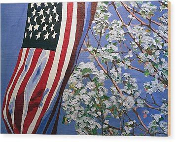 Wood Print featuring the painting American Spring by Jim Phillips