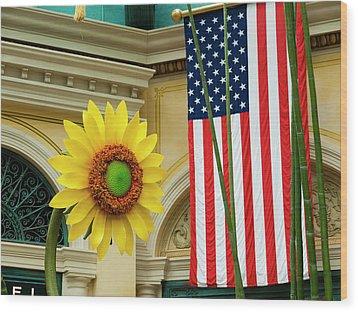 American Sunflower Wood Print by Rae Tucker