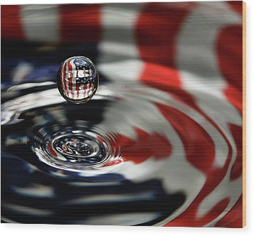 Wood Print featuring the photograph American Water Drop by Betty Denise