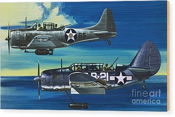 American Ww2 Planes Douglas Sbd1 Dauntless And Curtiss Sb2c1 Helldiver Wood Print