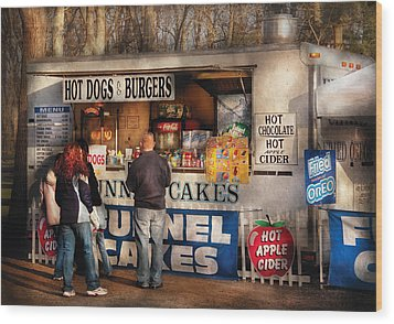 Americana - Food - Hot Dogs And Funnel Cakes Wood Print by Mike Savad