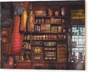 Americana - Store - The Local Grocers  Wood Print by Mike Savad