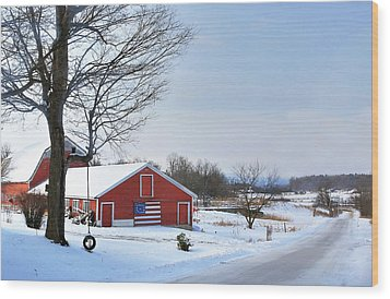 Wood Print featuring the digital art Americana Barn In Vermont by Sharon Batdorf