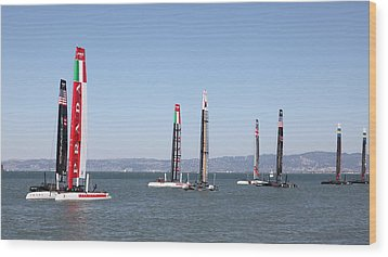 America's Cup Sailboats In San Francisco - 5d18205 Wood Print by Wingsdomain Art and Photography