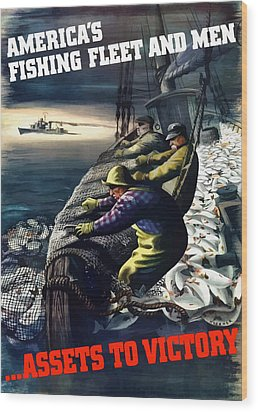 America's Fishing Fleet And Men  Wood Print by War Is Hell Store