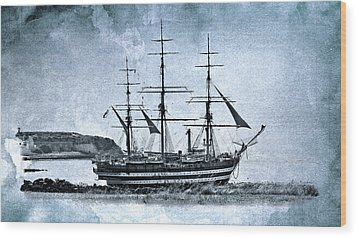 Amerigo Vespucci Sailboat In Blue Wood Print