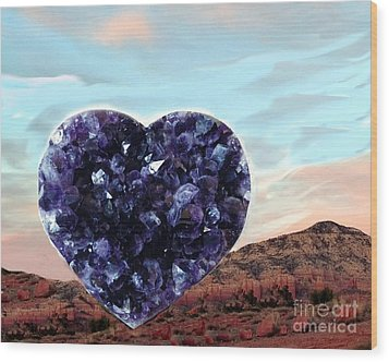 Amethyst Vortex Heart Sedona Wood Print