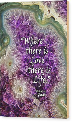 Wood Print featuring the photograph Amethyst Geode - Love by ABeautifulSky Photography