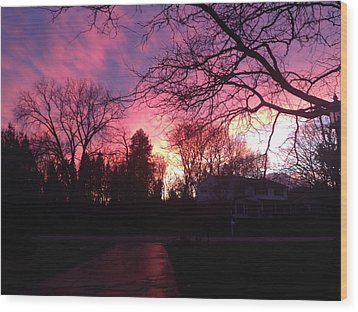 Amethyst Sunset Wood Print by Rebecca Wood