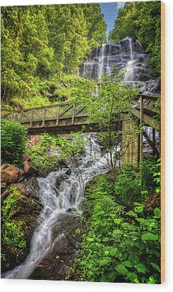 Wood Print featuring the photograph Amicalola Falls Top To Bottom by Debra and Dave Vanderlaan