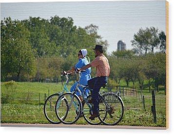 Amish Bike Ride Wood Print by Jeffrey Platt