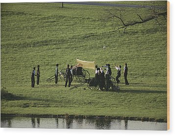 Amish Buggies Anchor A Volleyball Net Wood Print by Ira Block